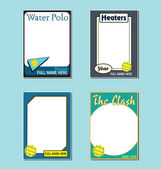 water polo trading card picture frames stock vector 11175322