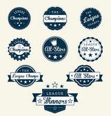 Vintage sport etiketten voor kampioenen — Stockvector