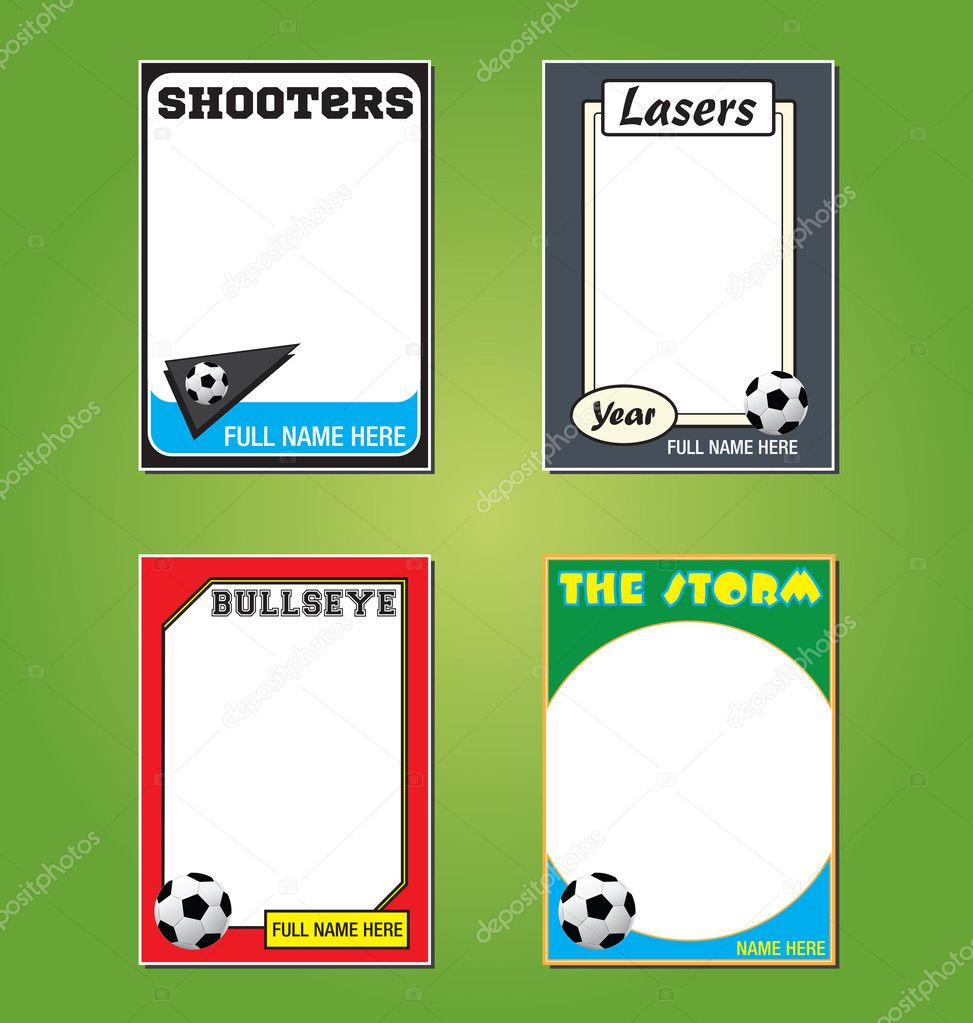 Soccer futbol trading card picture frames stock vector for Baseball card template microsoft word