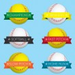 Vector Set: Softball Banner Labels — Stock Vector