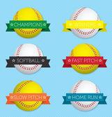 Vector Set: Softball Banner Labels — Stock Vector