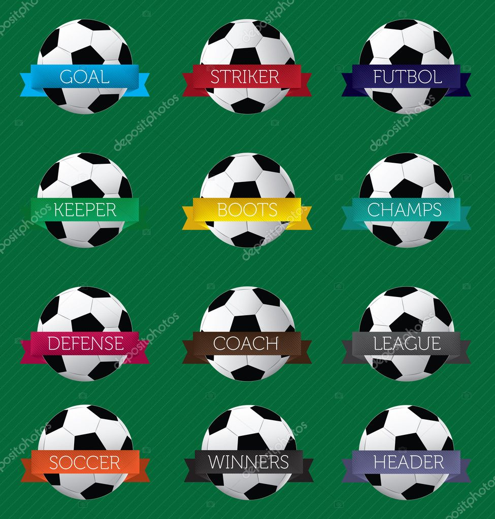 Vector soccer ball banners with titles — Stock Vector #11233107