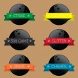 Vector Set: Bowling Ball Banner Label Icons — Imagen vectorial