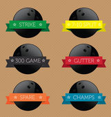 Vector Set: Bowling Ball Banner Label Icons — Stock Vector