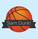 Vector Basketball with Slam Dunk Banner — Stock Vector