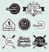 Vector Set of All Star and League Champions Labels — Stock Vector