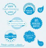 Vector Set: 100% Drinking Water Labels — Stock Vector