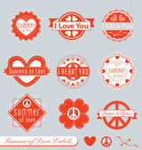 Vector Set: Summer of Love Labels — Vetorial Stock