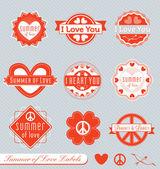 Vector Set: Summer of Love Labels — Stock Vector