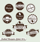 Vector Set: Football Champions Labels — Stock Vector
