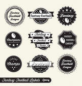 Vector Set: Fantasy Football League Champion Labels — Stock Vector