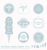 Vector Set: Ice Cream Parlor Labels — Stock Vector