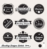 Vector Set: Bowling League Champion Labels — Vettoriale Stock