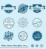Vector Set: Winter Sale Shopping Labels — Stock Vector