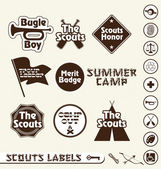 Vector Set: Boy Scouts Merit Badge Labels — Stock Vector
