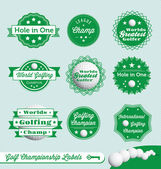 Vector Set: Golf Champion Labels — Stock Vector