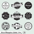 Vector Set: Soccer Champs Labels — Stock Vector