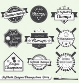 Vector Set: Softball League Champions Labels — Stockvector