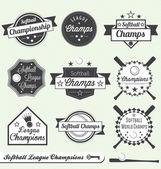 Vector Set: Softball League Champions Labels — Stock Vector