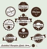 Vector Set: Basketball Champions Labels — Stock Vector