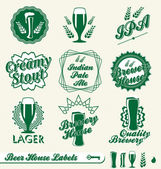 векторный набор: пивоварня дом этикетки — Cтоковый вектор