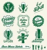 Vector Set: Brewery House Labels — Stockvektor