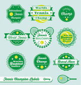 Vector Set: International Tennis Champ Labels — ストックベクタ