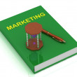 Sanduhr mit lila Sand und Buch-marketing — Stockfoto