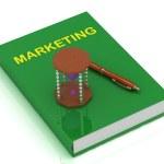 Sandglass with purple sand and Book Marketing — Stock Photo