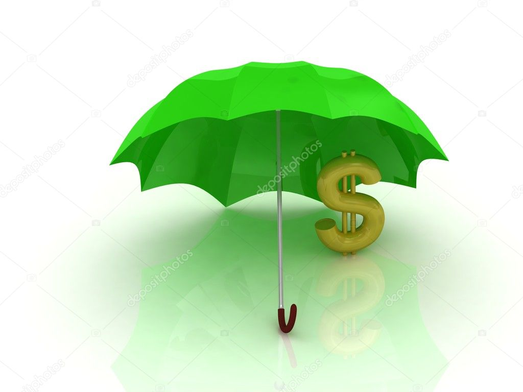 Abstraction of a gold dollar under the green umbrella on a white background  Stock Photo #11649847