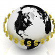 Royalty-Free Stock Photo: Dollar signs in gold encircle the planet