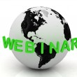 Green Webinar, abstraction of the inscription around the earth — Stock Photo