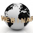 Gold Webinar, abstraction of the inscription around the earth — Stock Photo