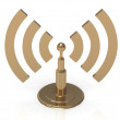 Gold antenna with radio waves — Stock Photo