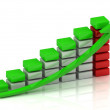 Business growth chart of the white, red and green blocks - Stock Photo