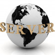 SERVER abstraction inscription around earth — Stock Photo #11781430