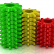 Stock Photo: Set of colored cogs: red, yellow, green