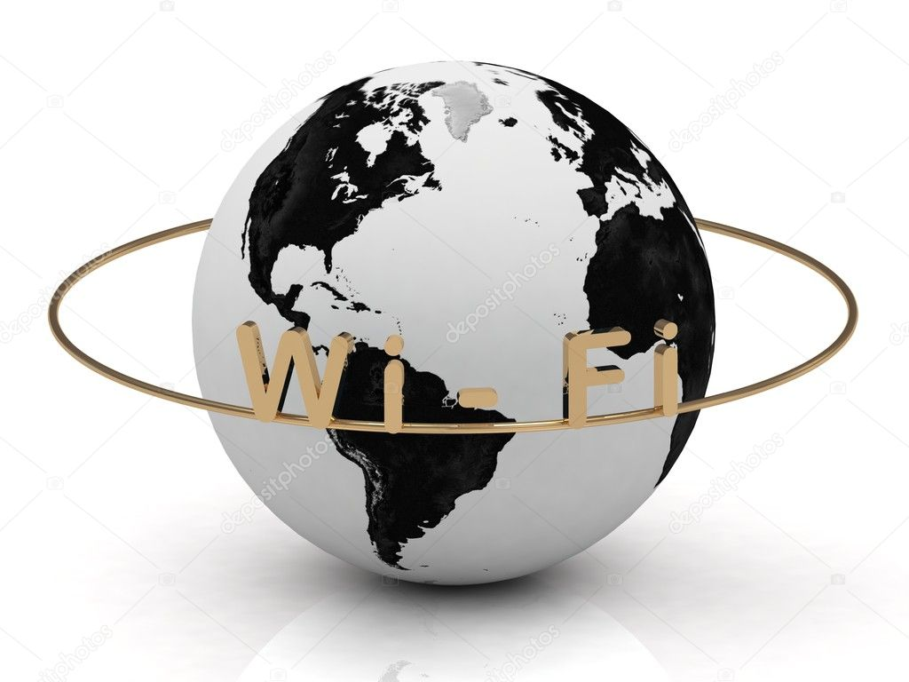 Wi Fi inscription in gold letters around the earth  Stock Photo #11780540