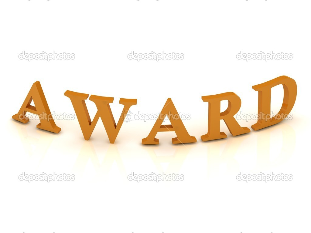 AWARD sign with orange letters on isolated white background — Stock Photo #11781333