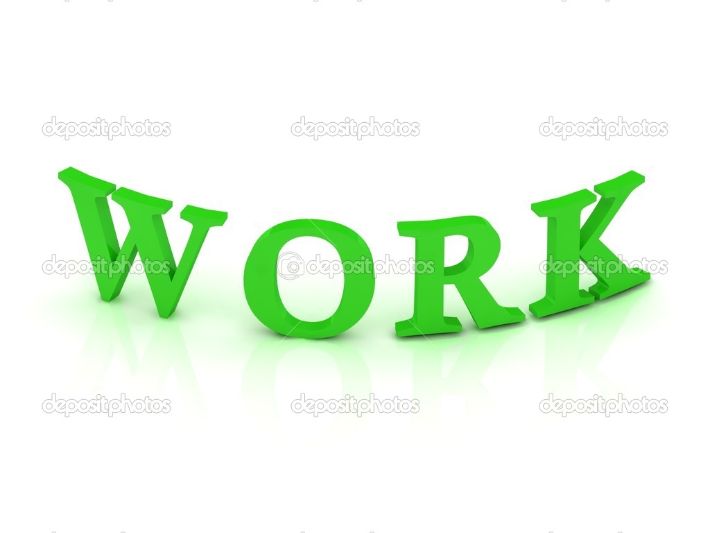 WORK sign with green letters on isolated white background — Stock Photo #11781341