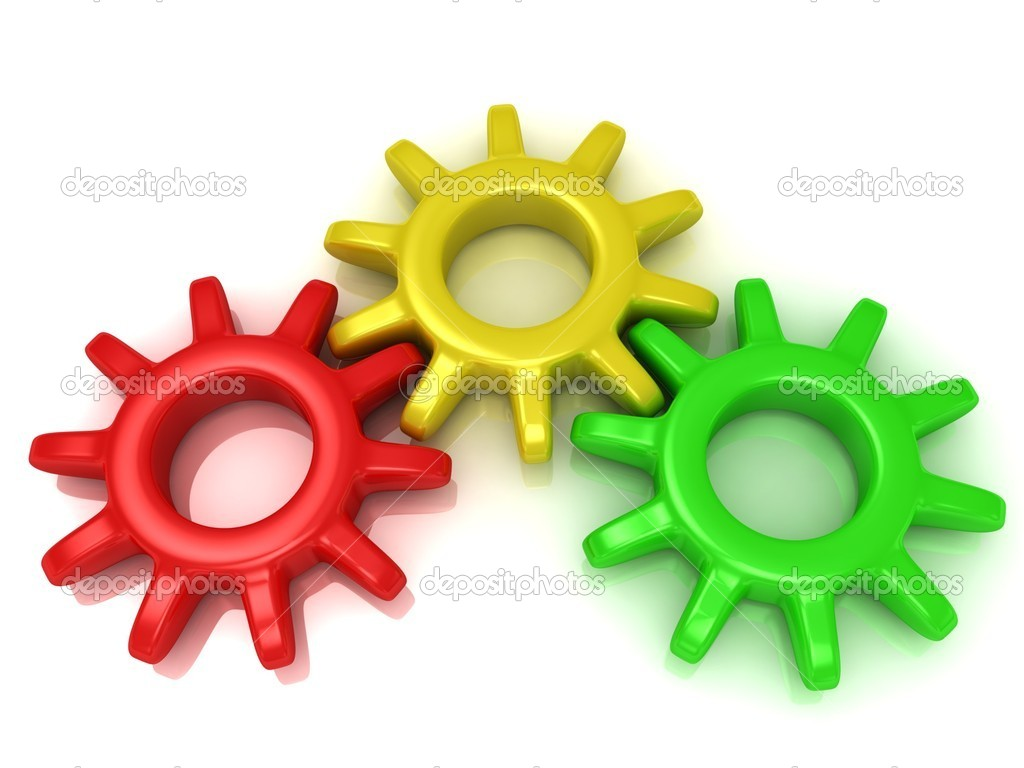 Gears red, yellow and green. Work concept — Stock Photo #11782999