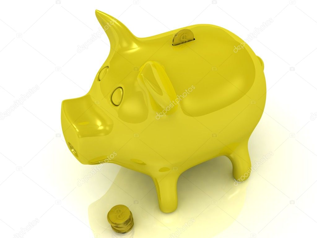 Yellow piggy bank and gold coins on a white background — Stock Photo #11783027