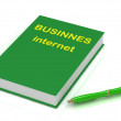 Green book of business on Internet and green pen — Stock Photo #11866374