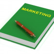 Green book on marketing and brown pen — Foto Stock