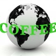 Royalty-Free Stock Photo: COFFEE abstraction inscription around earth