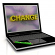 CHANGE message on laptop screen — Stok fotoğraf