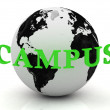 CAMPUS abstraction inscription around earth — Stock Photo