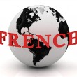 FRENCH abstraction inscription around earth — Stock Photo