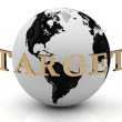 TARGET abstraction inscription around earth — Stock Photo #12047211