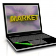 Royalty-Free Stock Photo: MARKET message on laptop screen